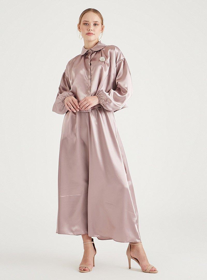 Birgül Bektaş Pudra Luna Bluz & Etek İkili Abiye Elbise Takım