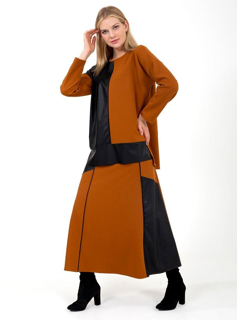 ONX10 Taba Deri Parçalı Tunik & Etek İkili Takım