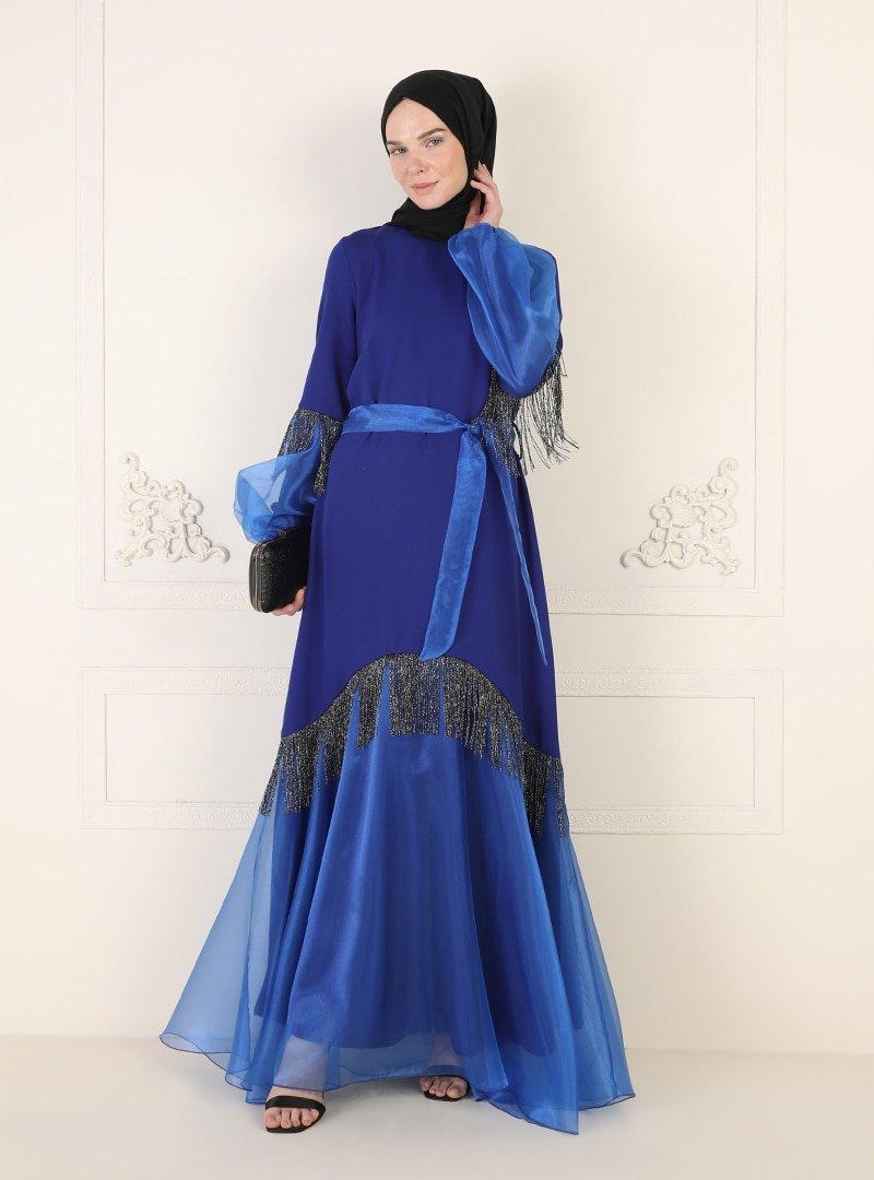 Ziwoman Saks Mavisi Püskül Detaylı Abiye Elbise