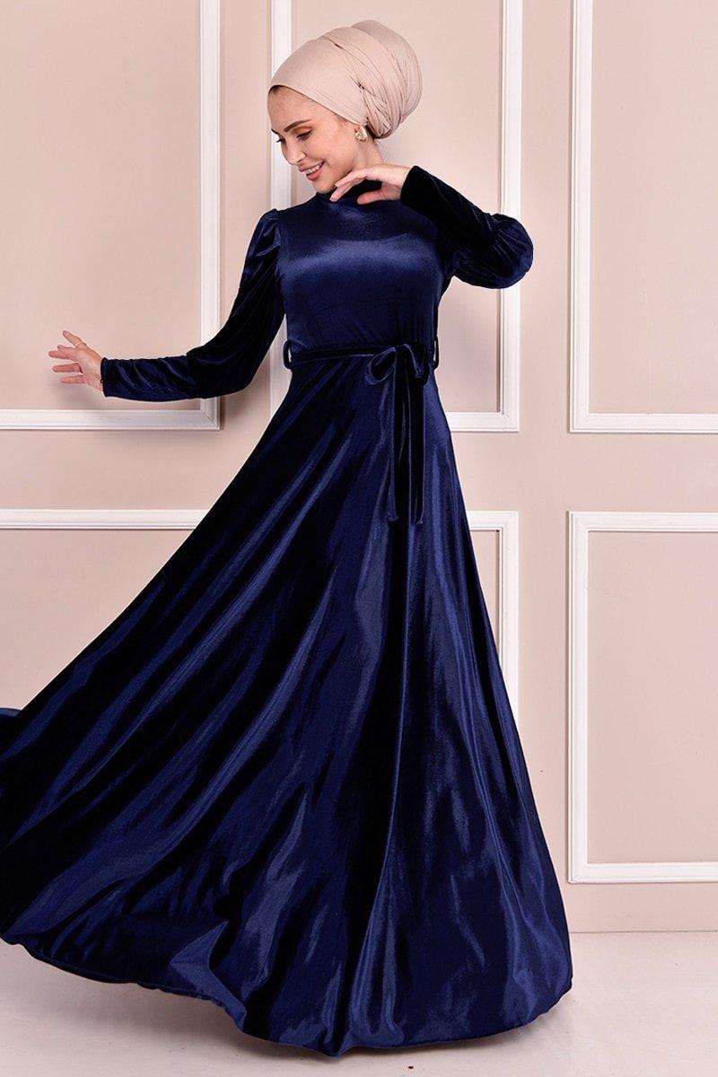 Moda Merve Lacivert Kuşaklı Kadife Elbise