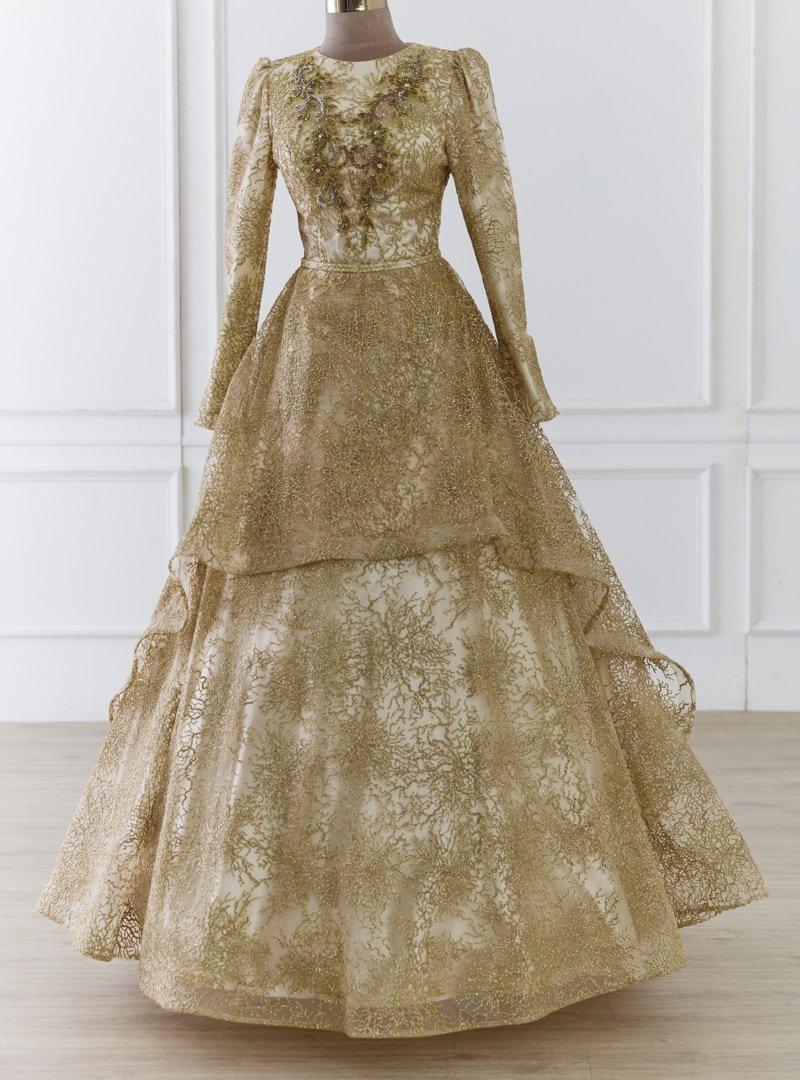 LARACHE Gold Sultan Abiye Elbise