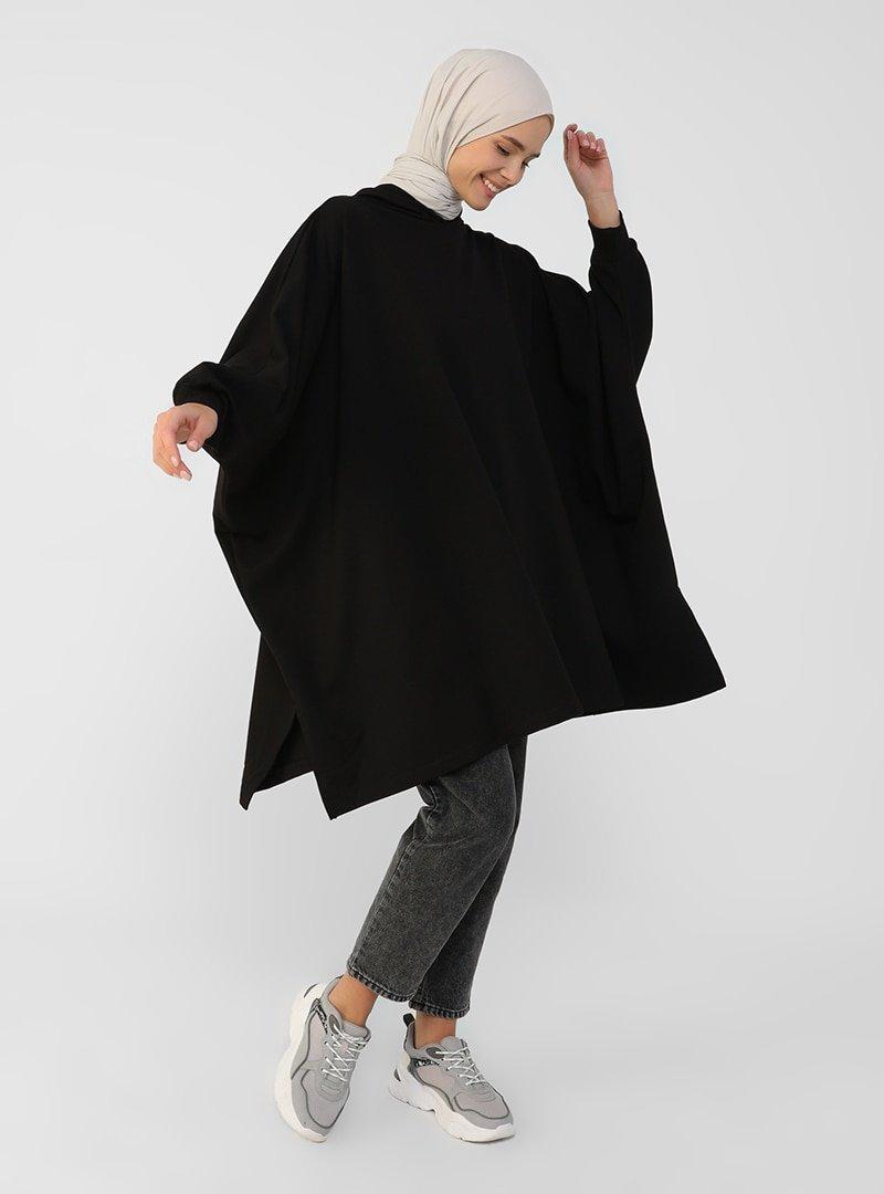 Refka Siyah Kapüşonlu Salaş Tunik