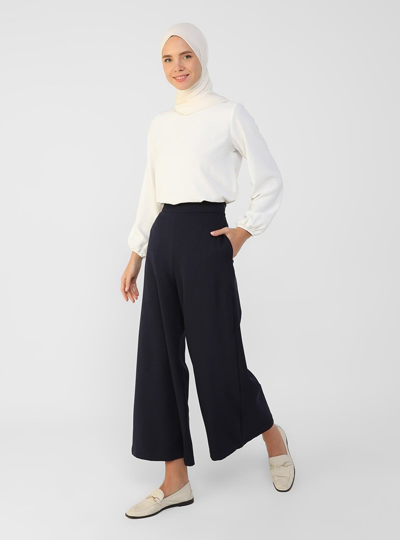 Refka Lacivert Geniş Paça Pantolon