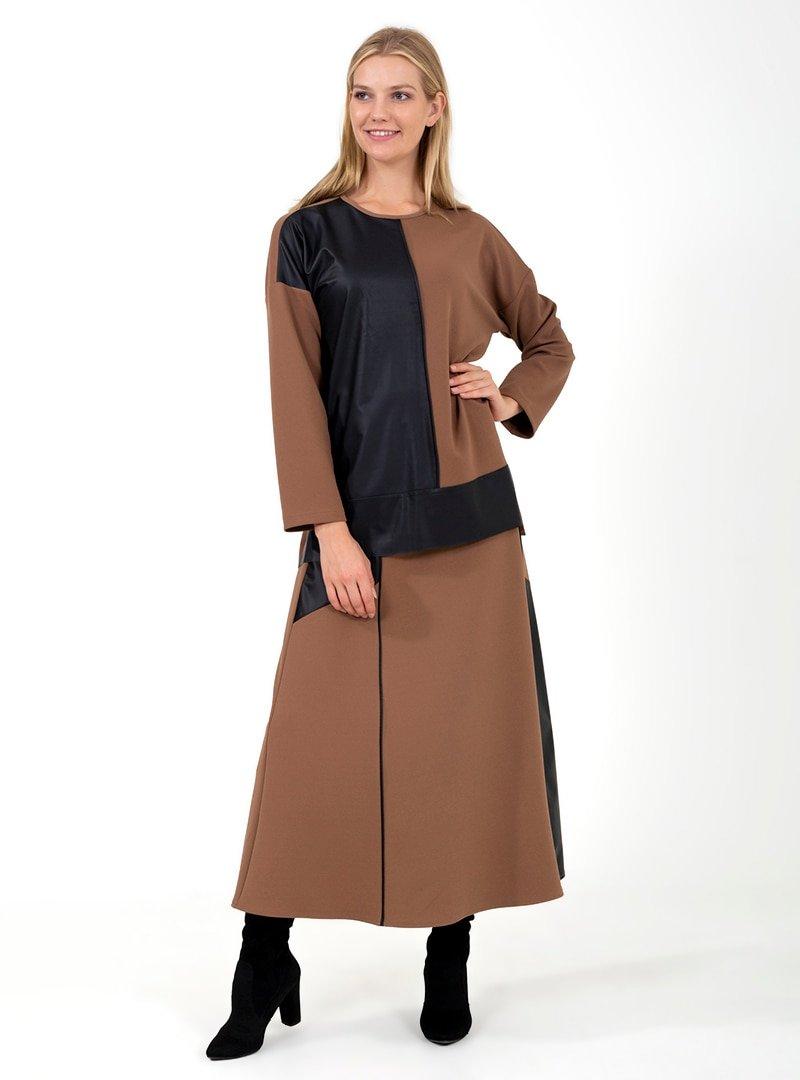 ONX10 Vizon Deri Parçalı Tunik & Etek İkili Takım