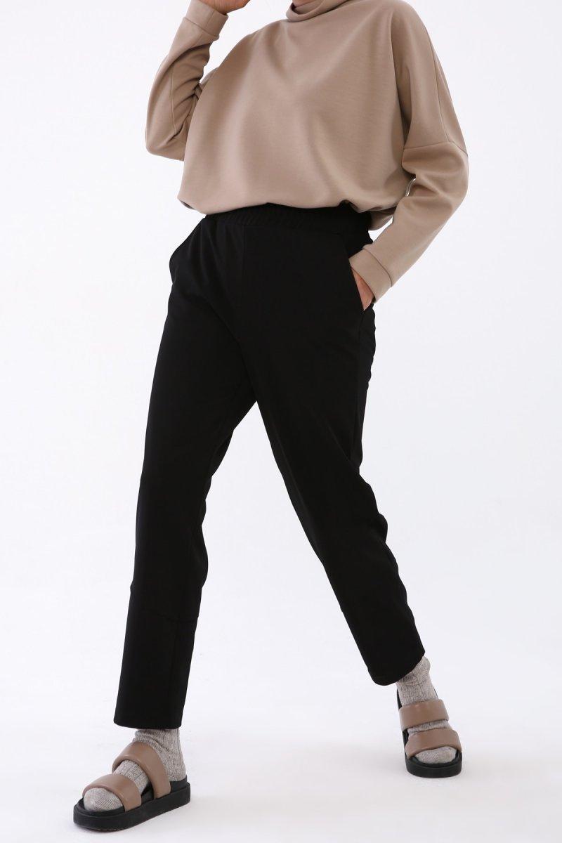 Allday Siyah Fantezi Kumaş Örme Pantolon