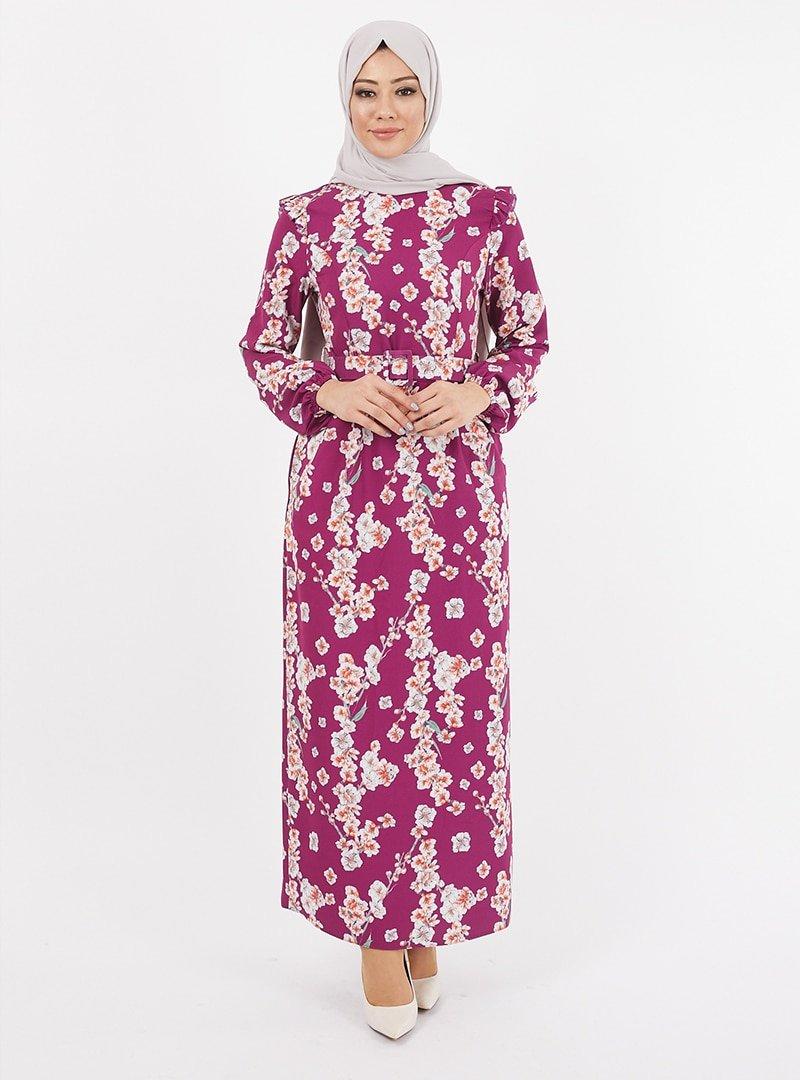 TESETTURİUM Mürdüm Dijital Baskılı Krep Elbise