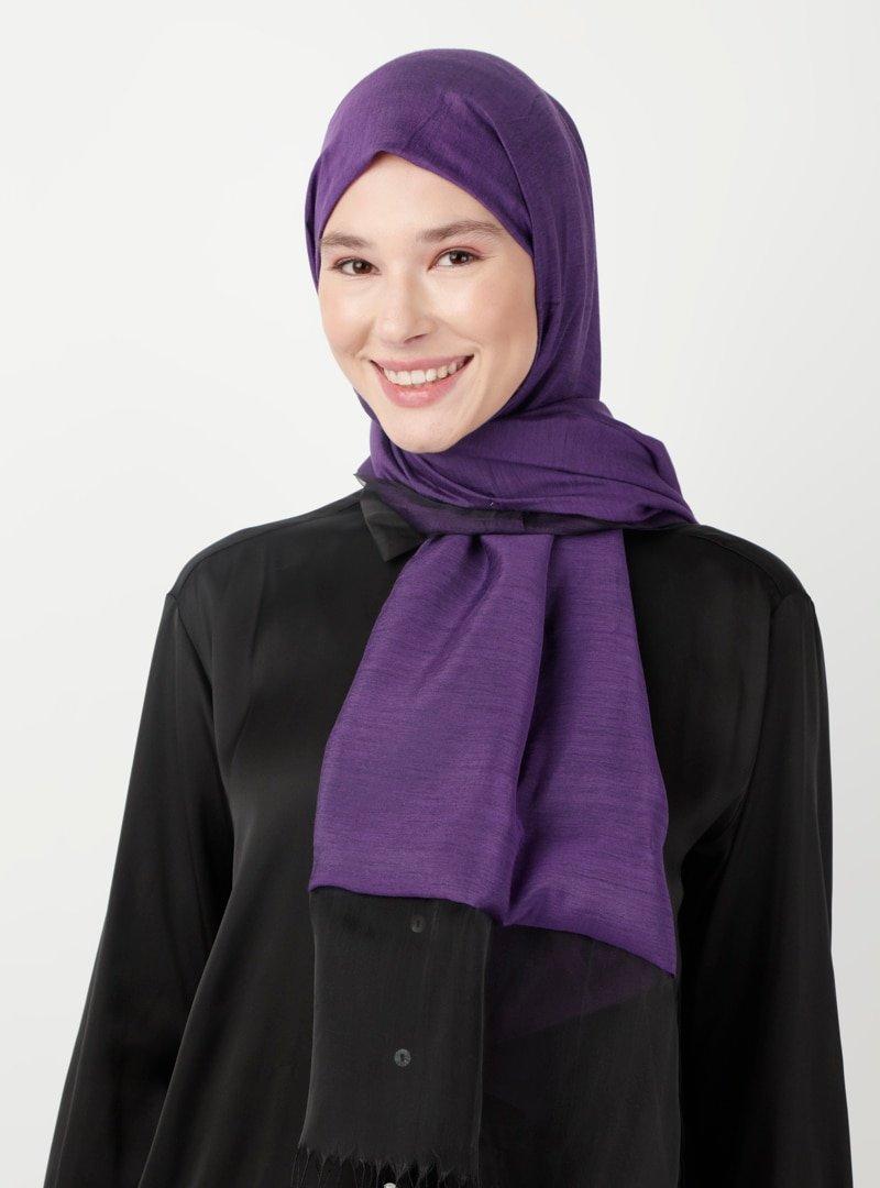 Soft Scarfs Mor Tüllü Elegans Şal