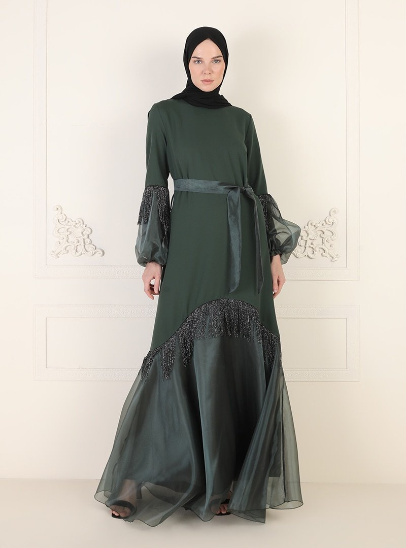 Ziwoman Yeşil Püskül Detaylı Abiye Elbise