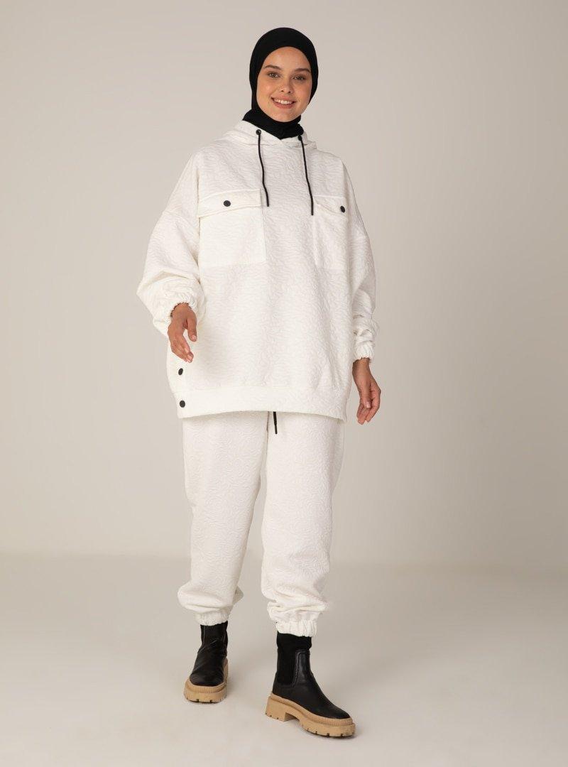 Mayın Jeans Beyaz Tunik & Pantolon İkili Takım