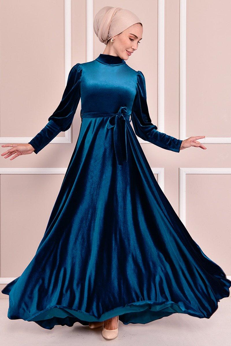 Moda Merve Petrol Kuşaklı Kadife Elbise