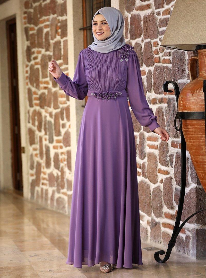 Amine Hüma Lila Defne Abiye Elbise