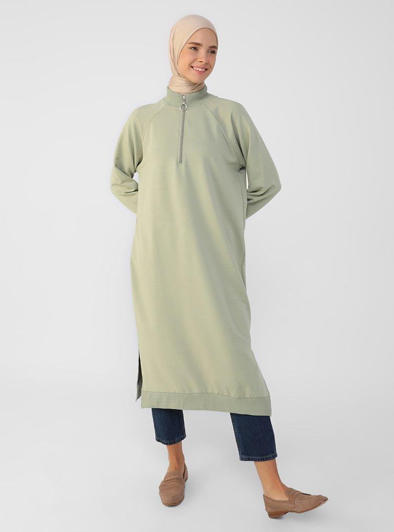 Refka Mint Yeşili Fermuar Detaylı Sweatshirt