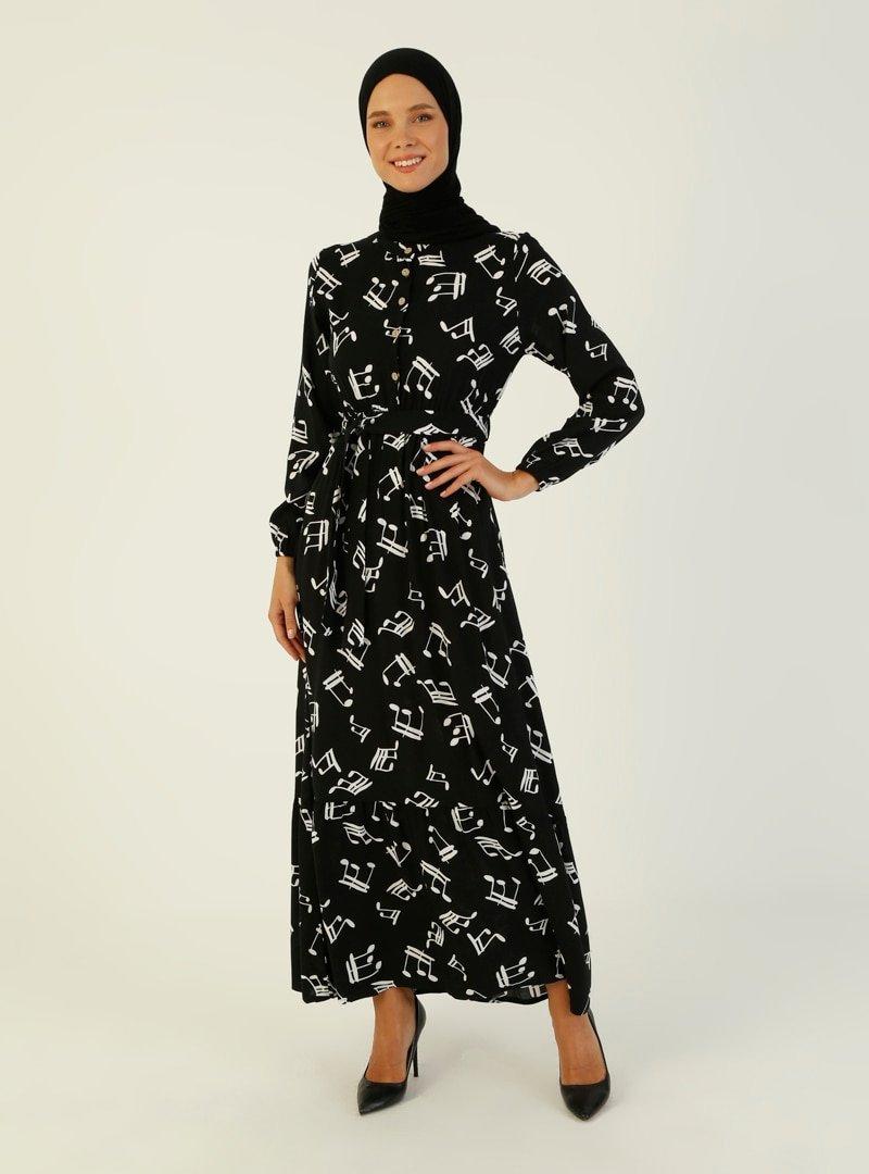 ZENANE Siyah Desenli Elbise