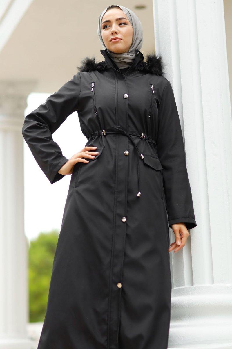 In Style Siyah Önü Fermuarlı Kürklü Uzun Kaban