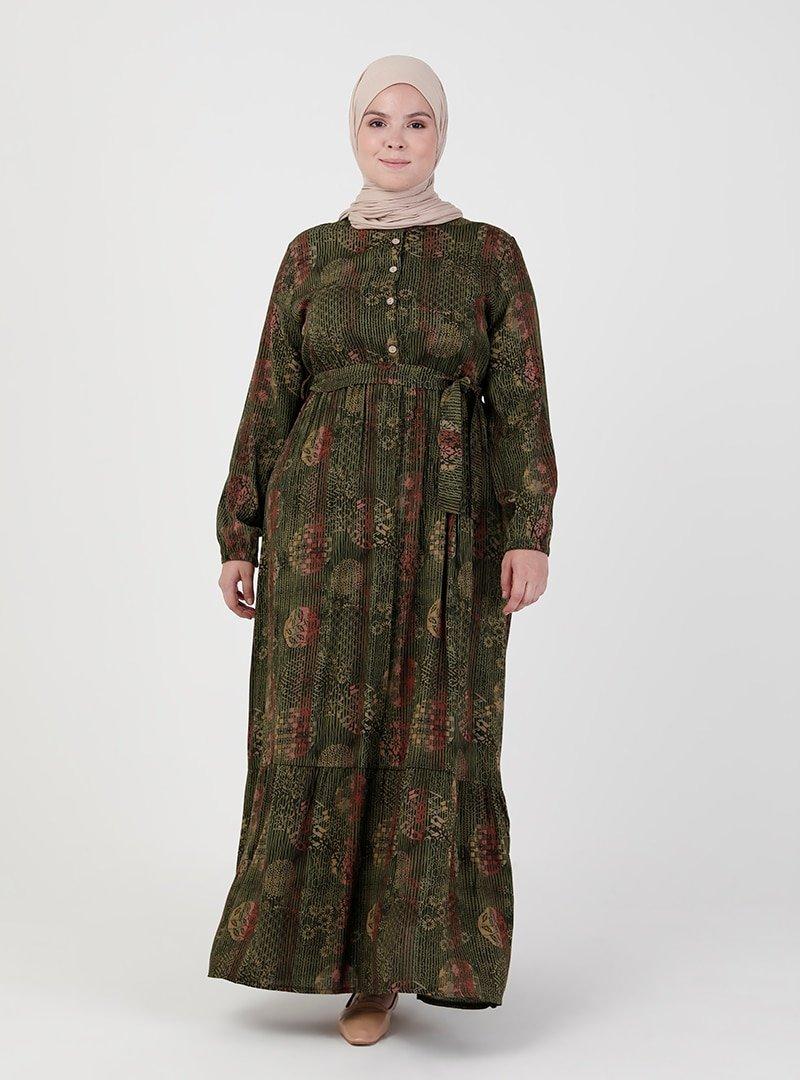 ZENANE Haki Beli Lastikli Desenli Elbise