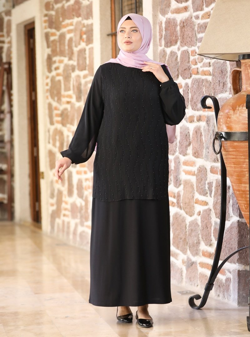 Amine Hüma Siyah Aybike Abiye Elbise