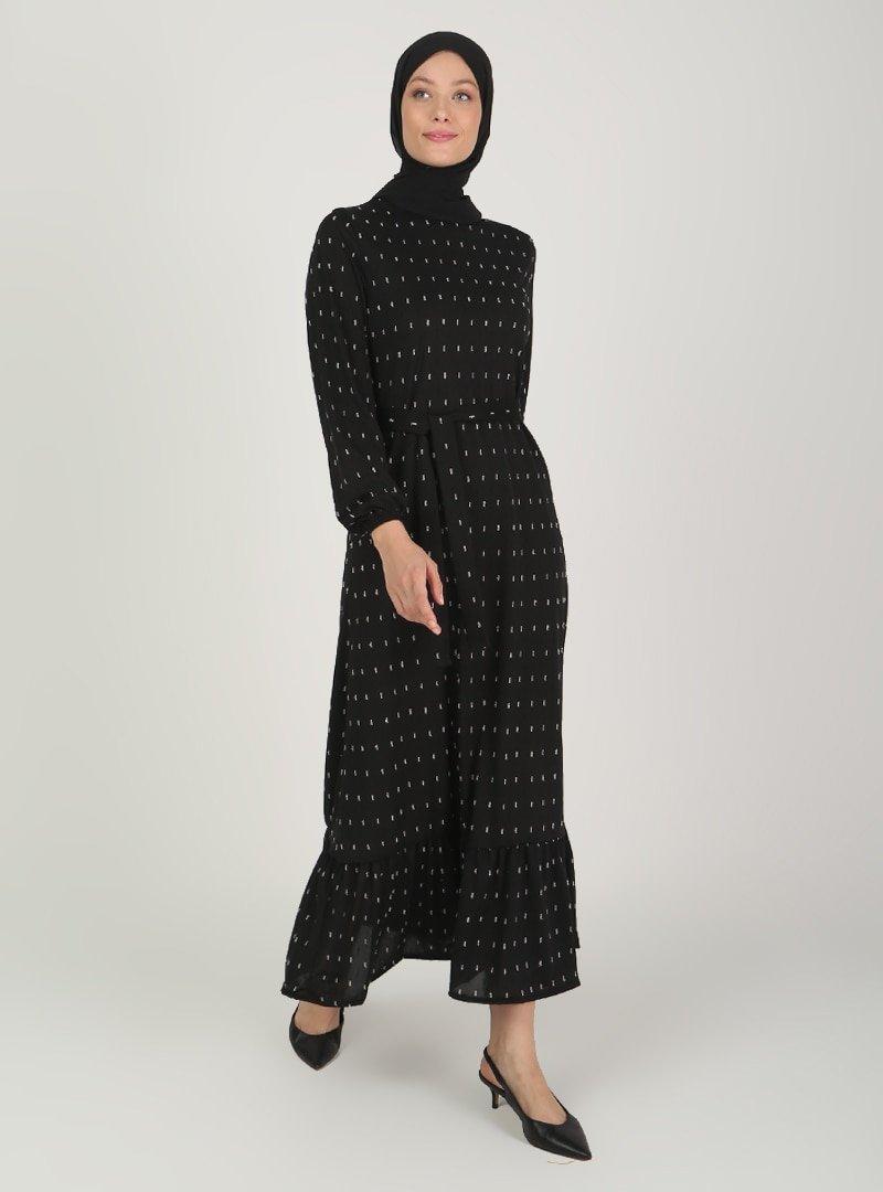 ECESUN Siyah Kol Uçları Lastikli Elbise