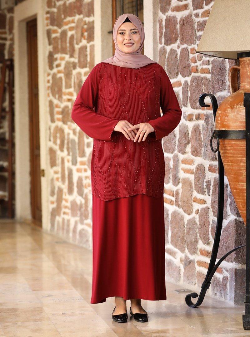 Amine Hüma Bordo Asil Abiye Elbise