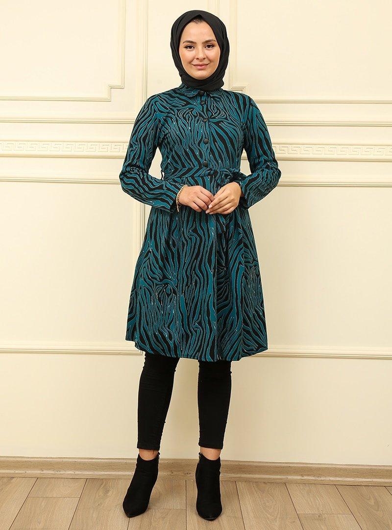 Moda Dua Turkuaz Zebra Desenli Tunik