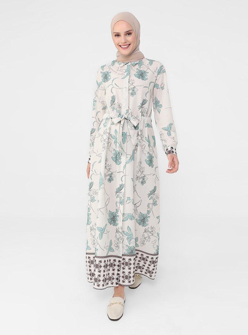 Refka Su Yeşili Gizli Düğmeli Çiçek Desenli Elbise