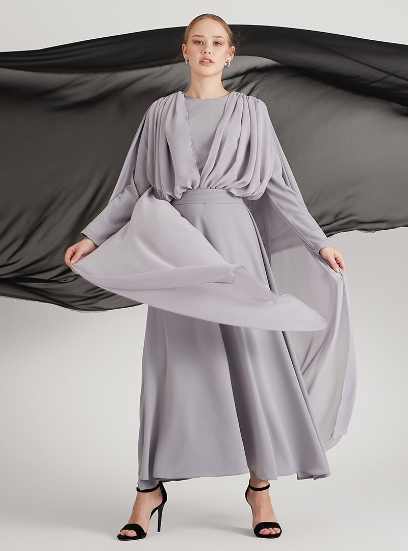 Birgül Bektaş Gri Lowell Abiye Elbise
