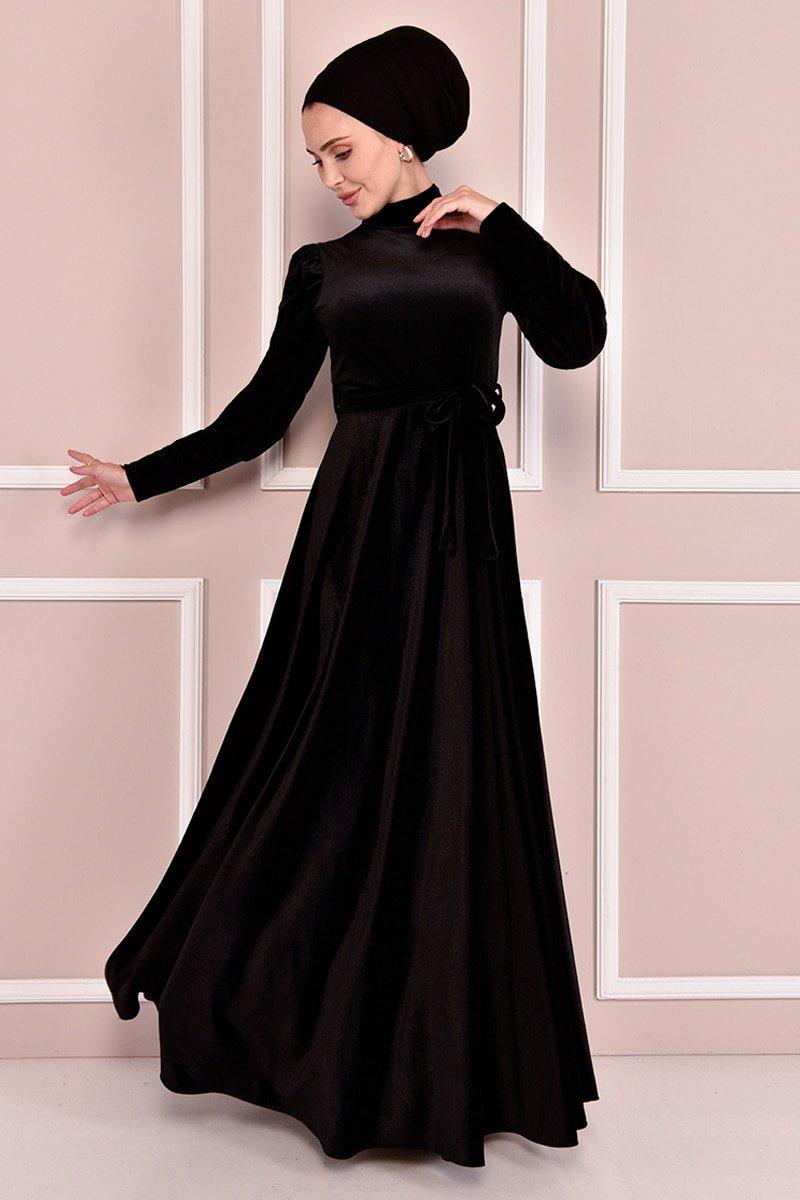 Moda Merve Siyah Kuşaklı Kadife Elbise