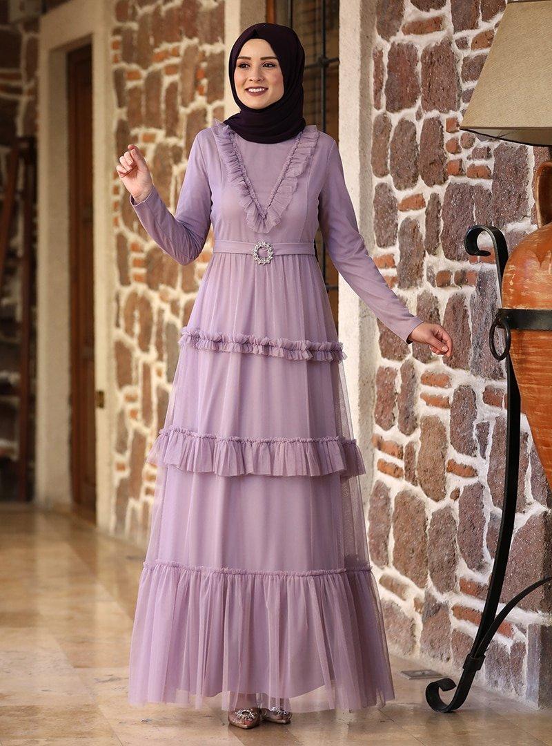 Amine Hüma Lila Şenay Abiye Elbise