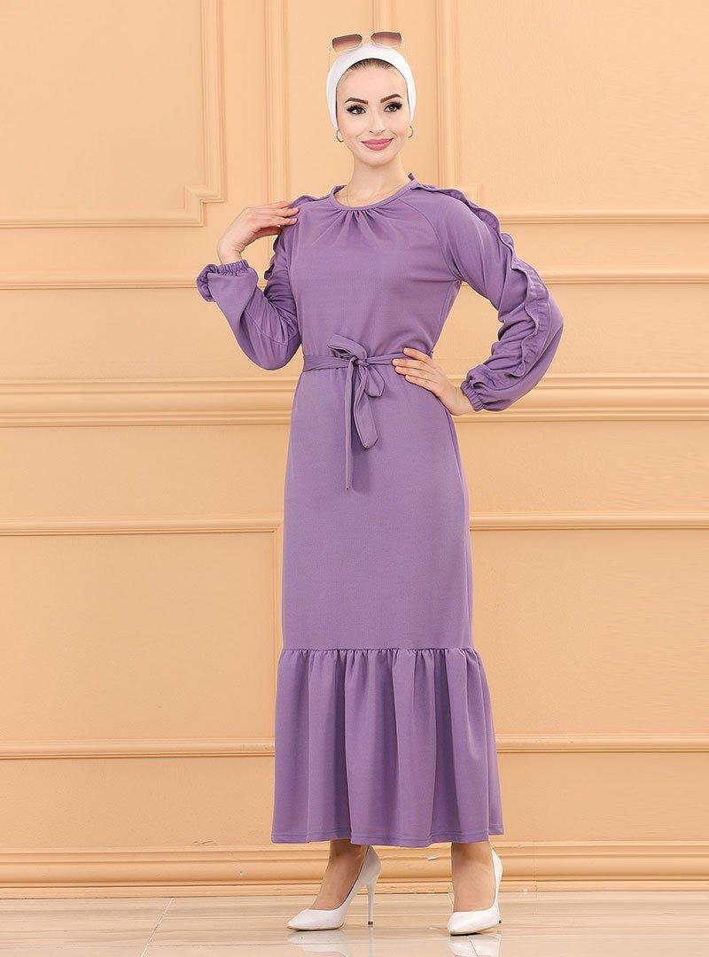 Tofisa Lila Fırfır Detaylı Kuşaklı Elbise