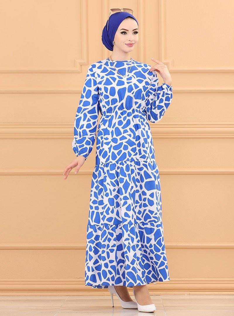 Tofisa Saks Mavi Desenli Elbise