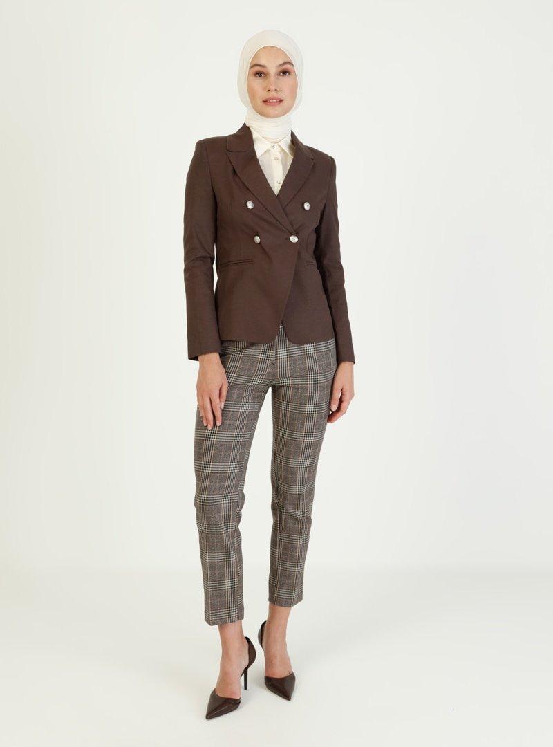 Ziwoman Kahverengi Düğme Detaylı Blazer Ceket