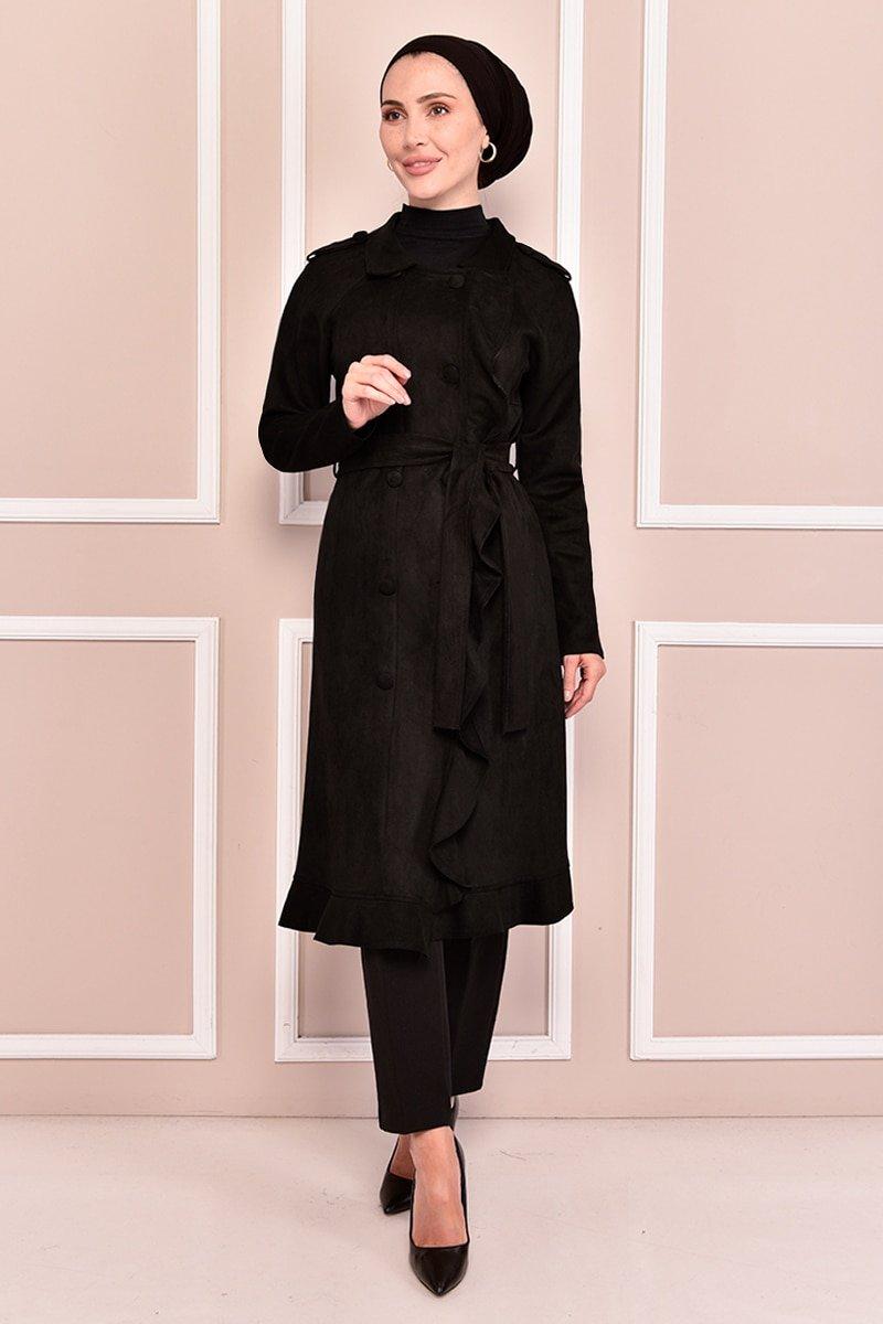 Moda Merve Siyah Süet Kap