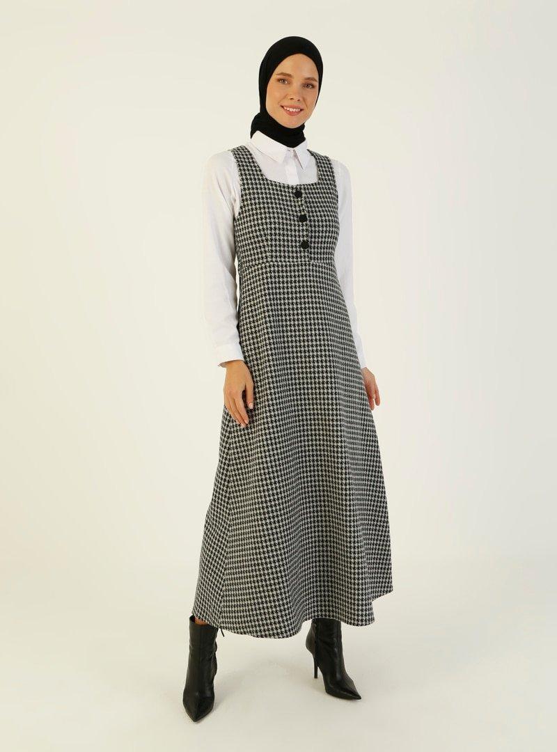 ZENANE Siyah Gri Kazayağı Desenli Elbise