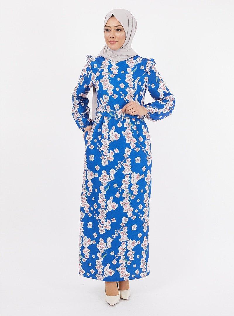 TESETTURİUM İndigo Dijital Baskılı Krep Elbise