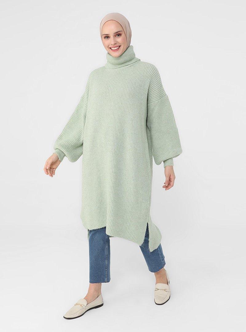 Refka Mint Yeşili Arkası Uzun Triko Tunik