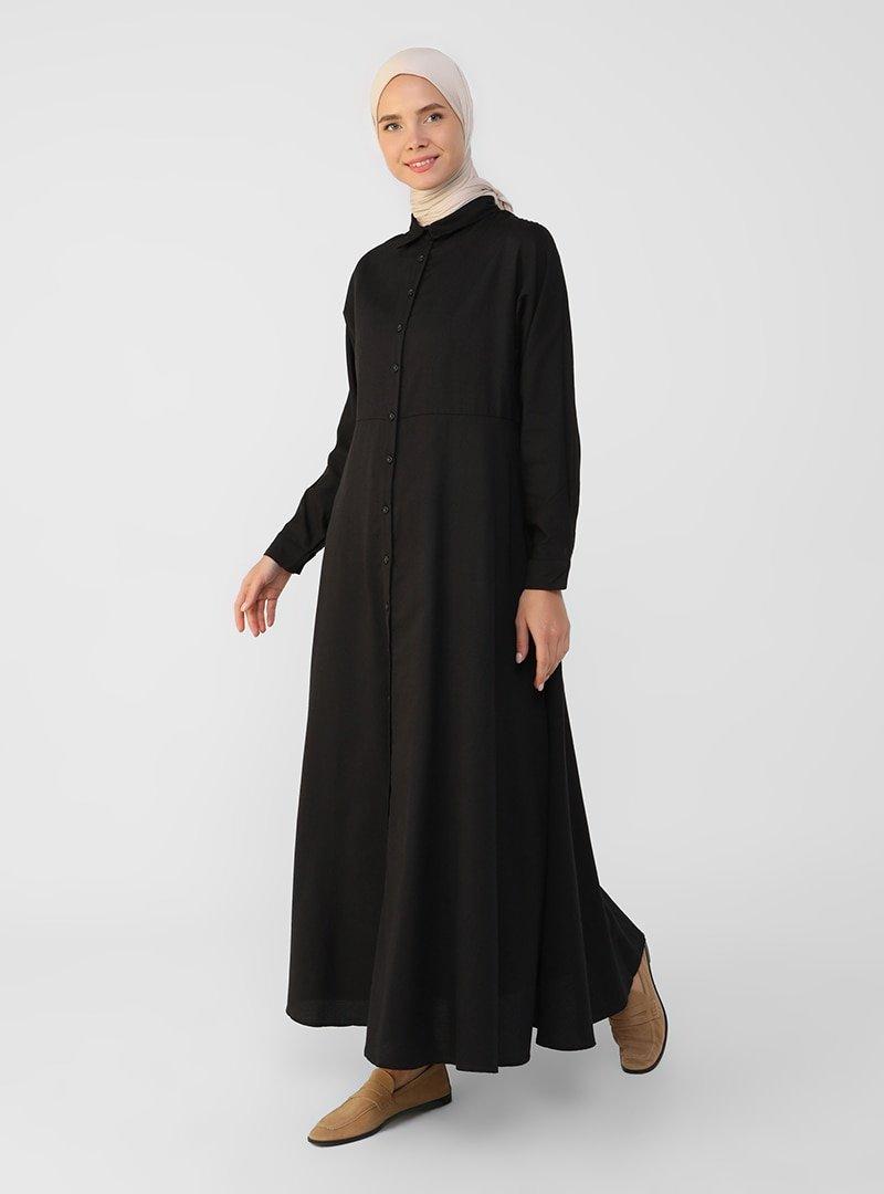 Refka Siyah Oxford Kumaştan Boydan Düğmeli Elbise