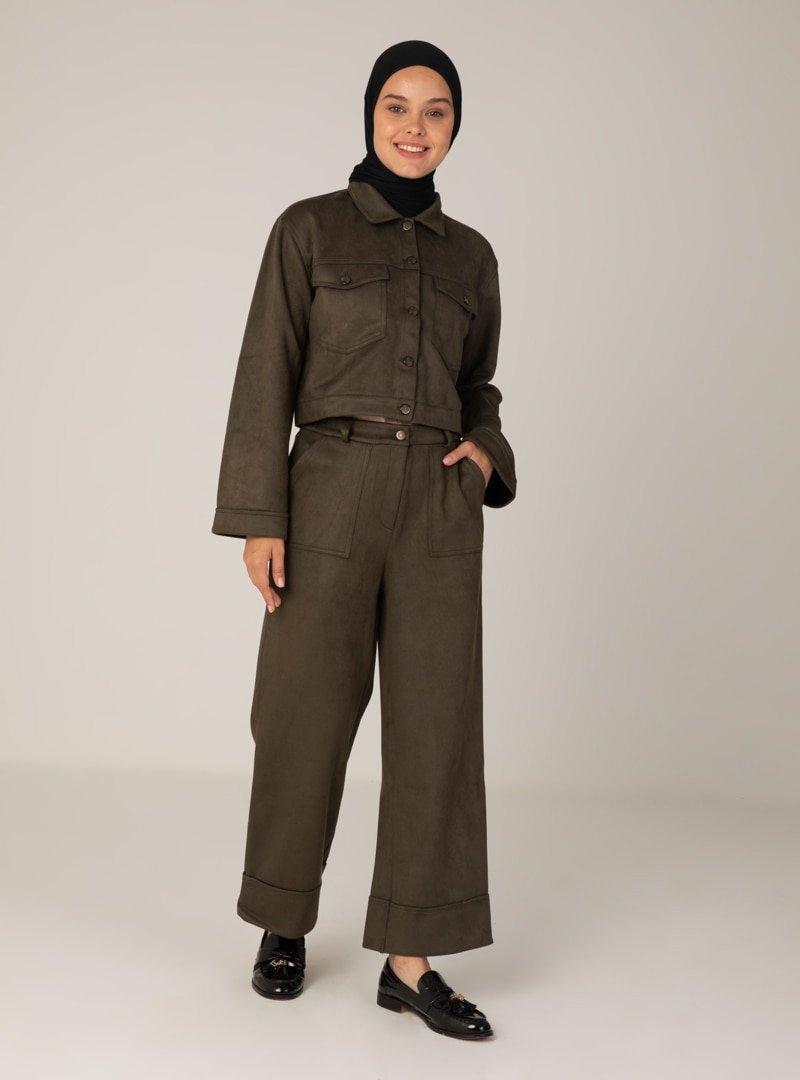 Mayın Jeans Haki Ceket & Pantolon İkili Takım