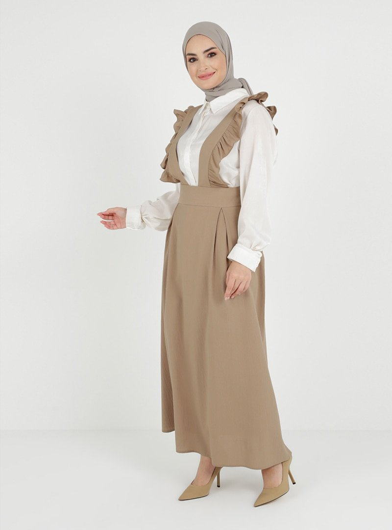 Tavin Vizon Volan Detaylı Salopet Elbise