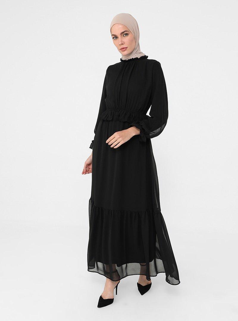 Refka Siyah Fırfır Detaylı Astarlı Şifon Şık Elbise