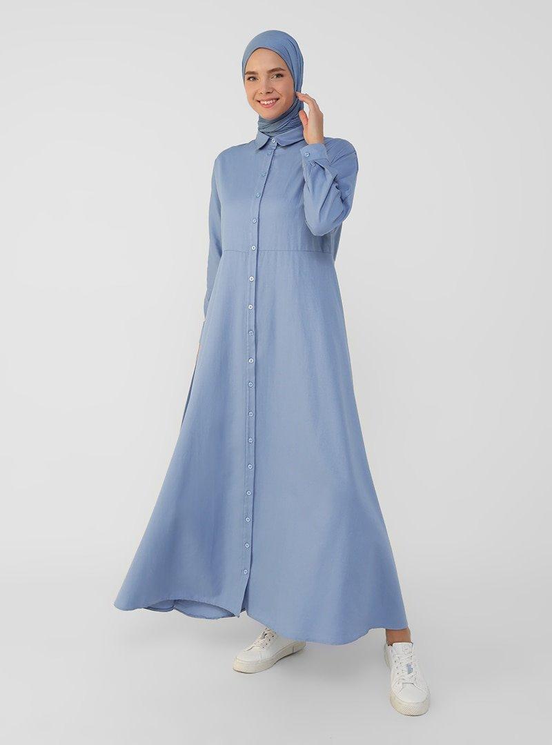 Refka İndigo Oxford Kumaştan Boydan Düğmeli Elbise
