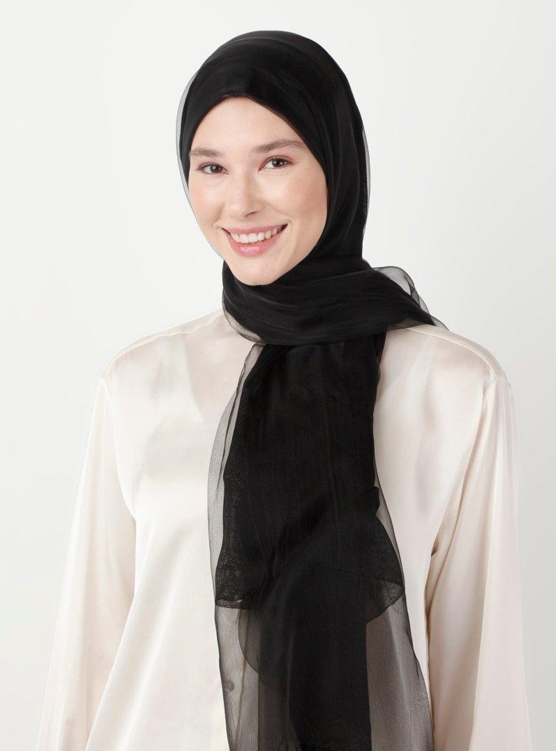 Soft Scarfs Siyah Tüllü Elegans Şal