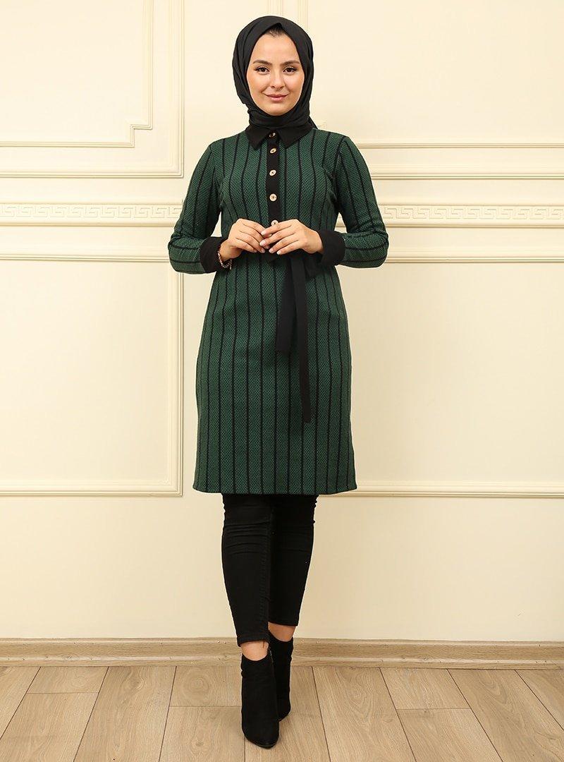 Moda Dua Zümrüt Yeşili Önü Düğmeli Çizgili Tunik