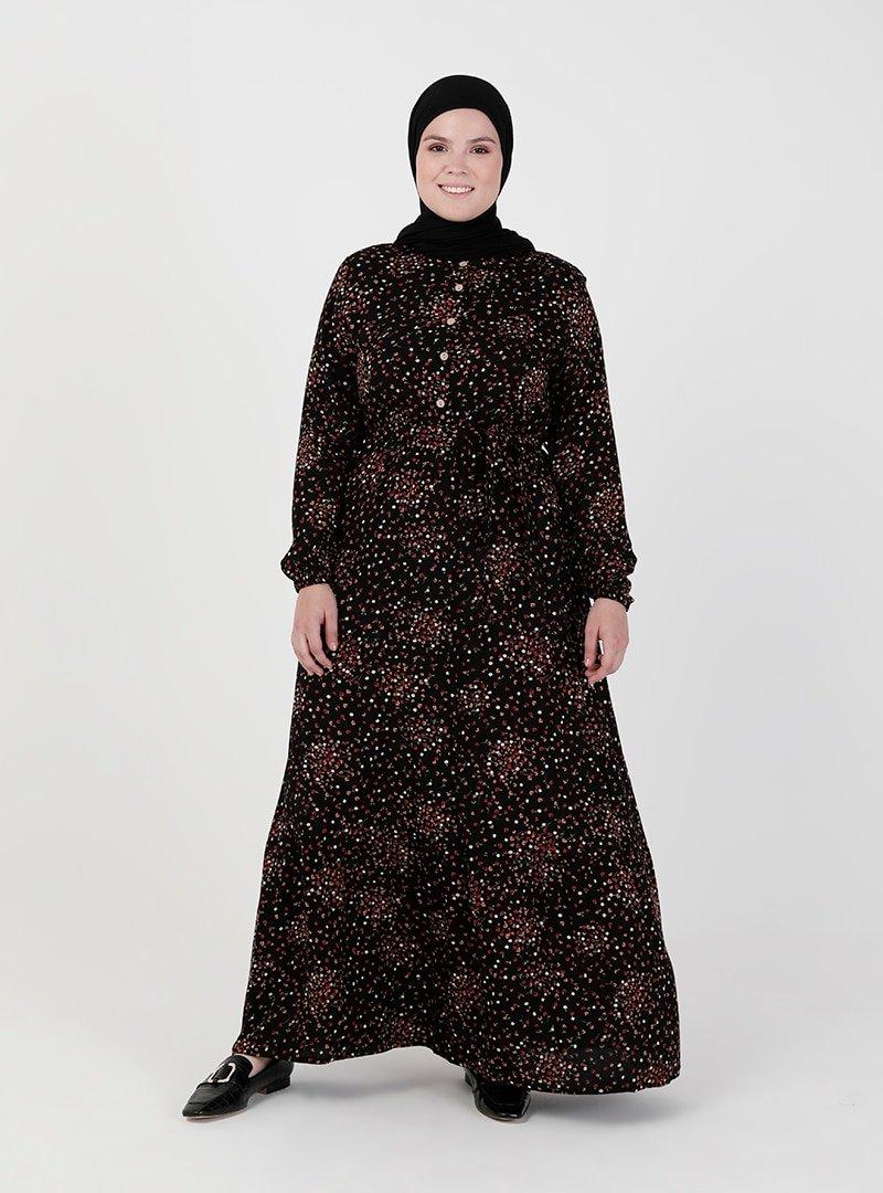 ZENANE Siyah Beli Lastikli Desenli Elbise