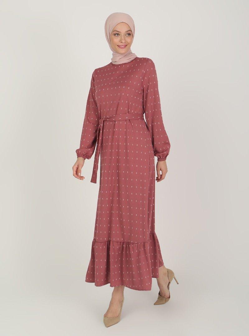 ECESUN Gül Kol Uçları Lastikli Elbise