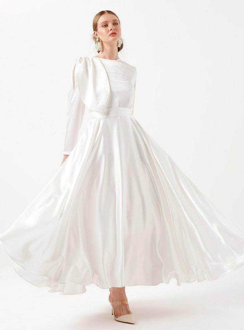 Birgül Bektaş Beyaz Vera Abiye Elbise