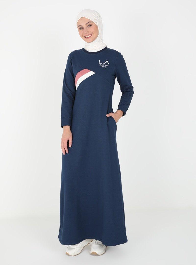 MODAGÜL İndigo Cep Detaylı Elbise
