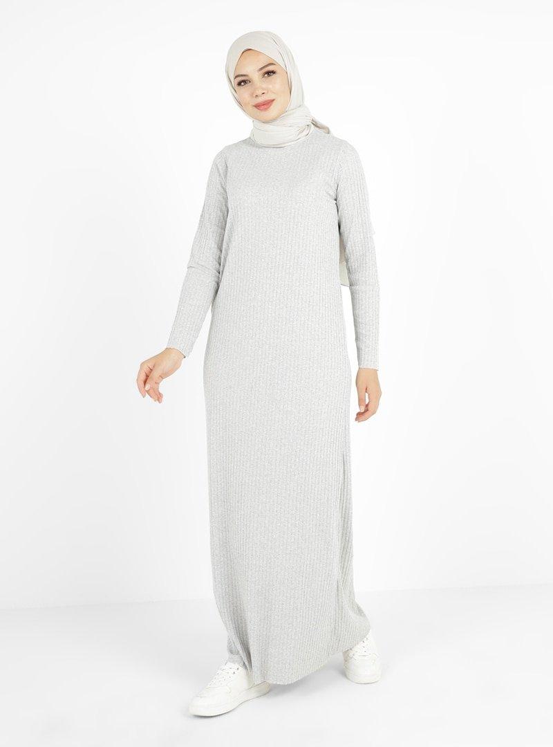 Tavin Gri Doğal Ve Esnek Kumaş Elbise