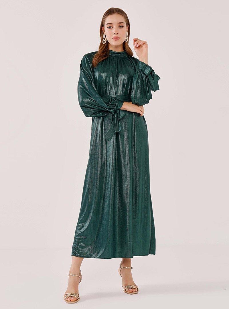 Birgül Bektaş Zümrüt Yeşili Stella Abiye Elbise