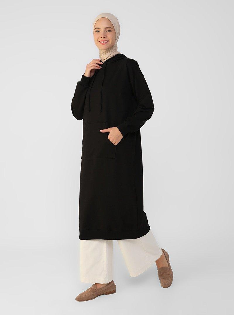 Refka Siyah Kanguru Cepli Kapüşonlu Sweatshirt