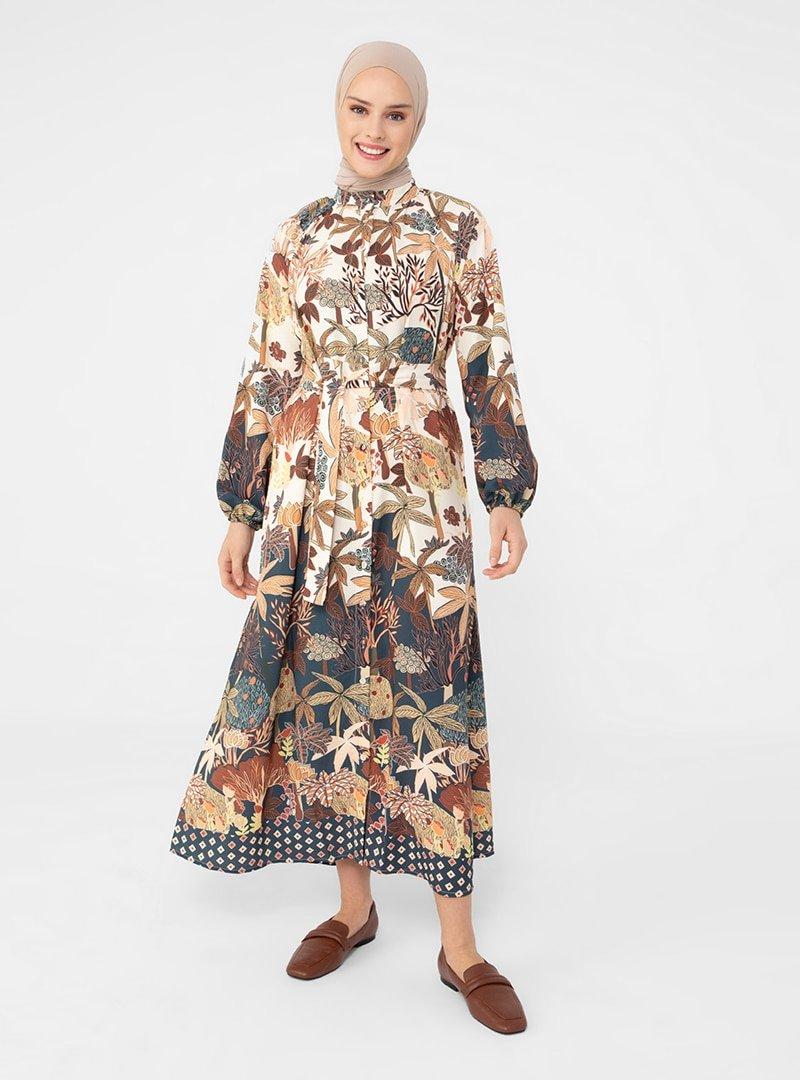 Refka Lacivert Gizli Düğmeli Desenli Elbise
