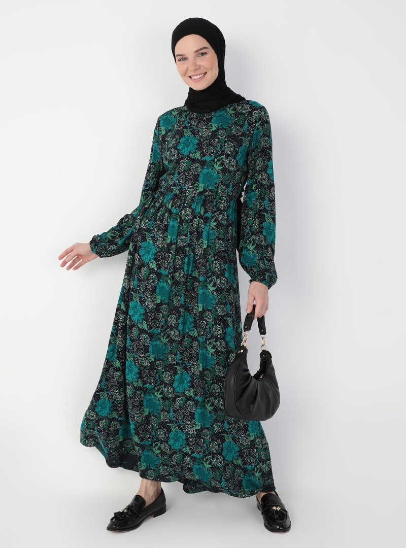 Ziwoman Lacivert Desenli Elbise